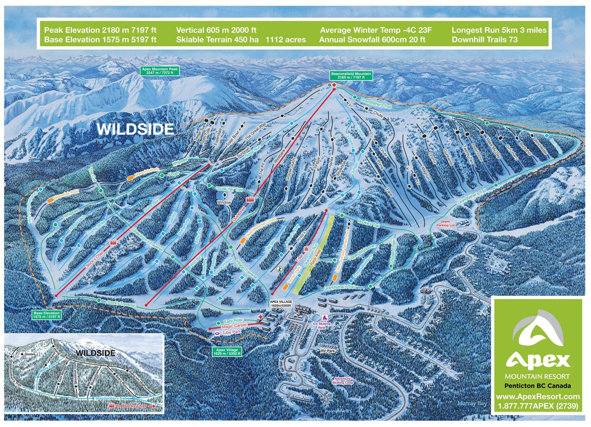 Apex Resort Piste / Trail Map