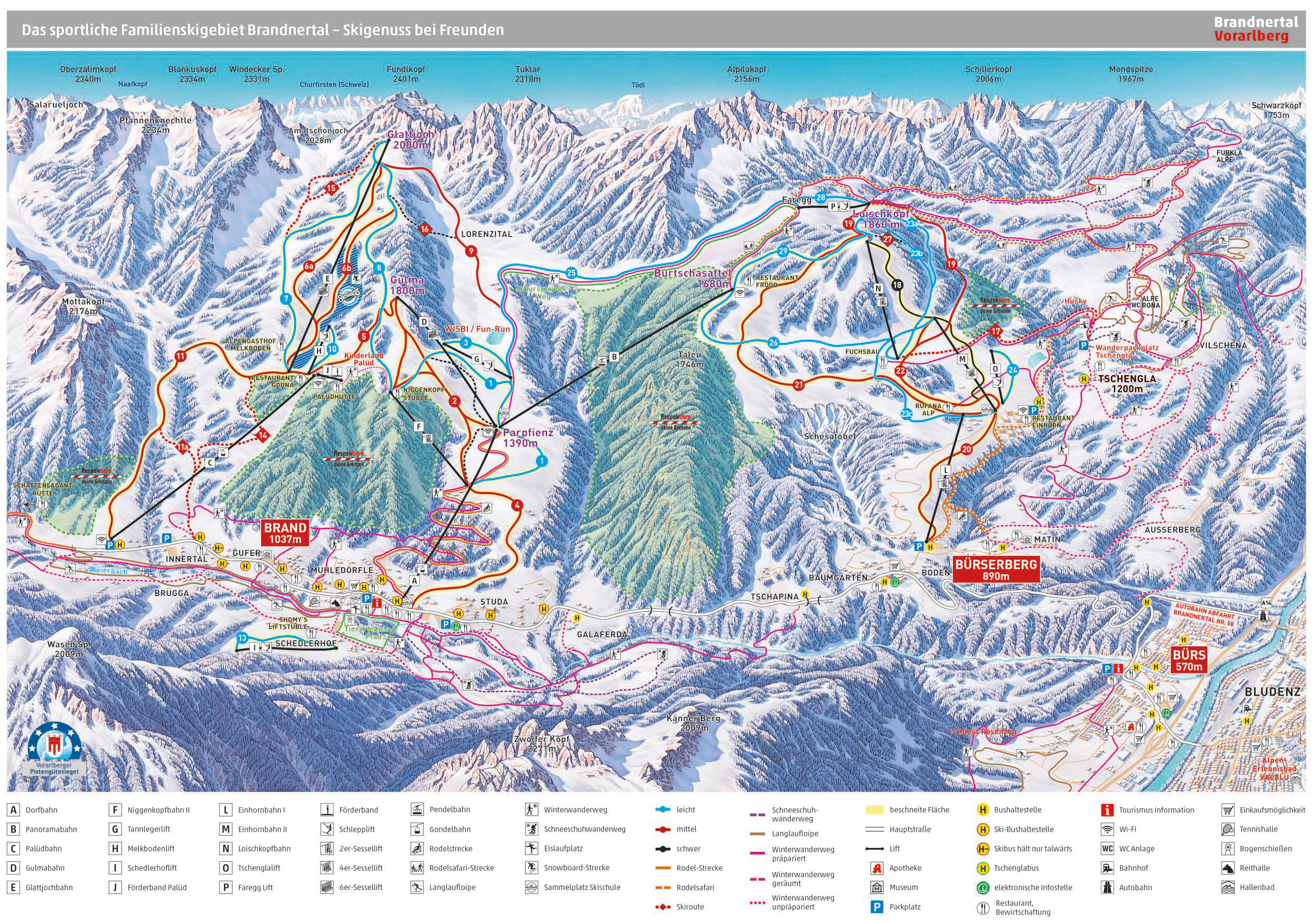 Brandnertal Piste / Trail Map