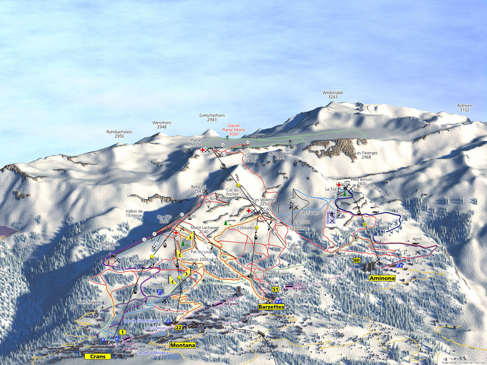Crans Montana Piste / Trail Map