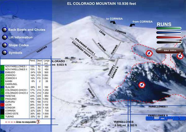 Farellones Piste / Trail Map