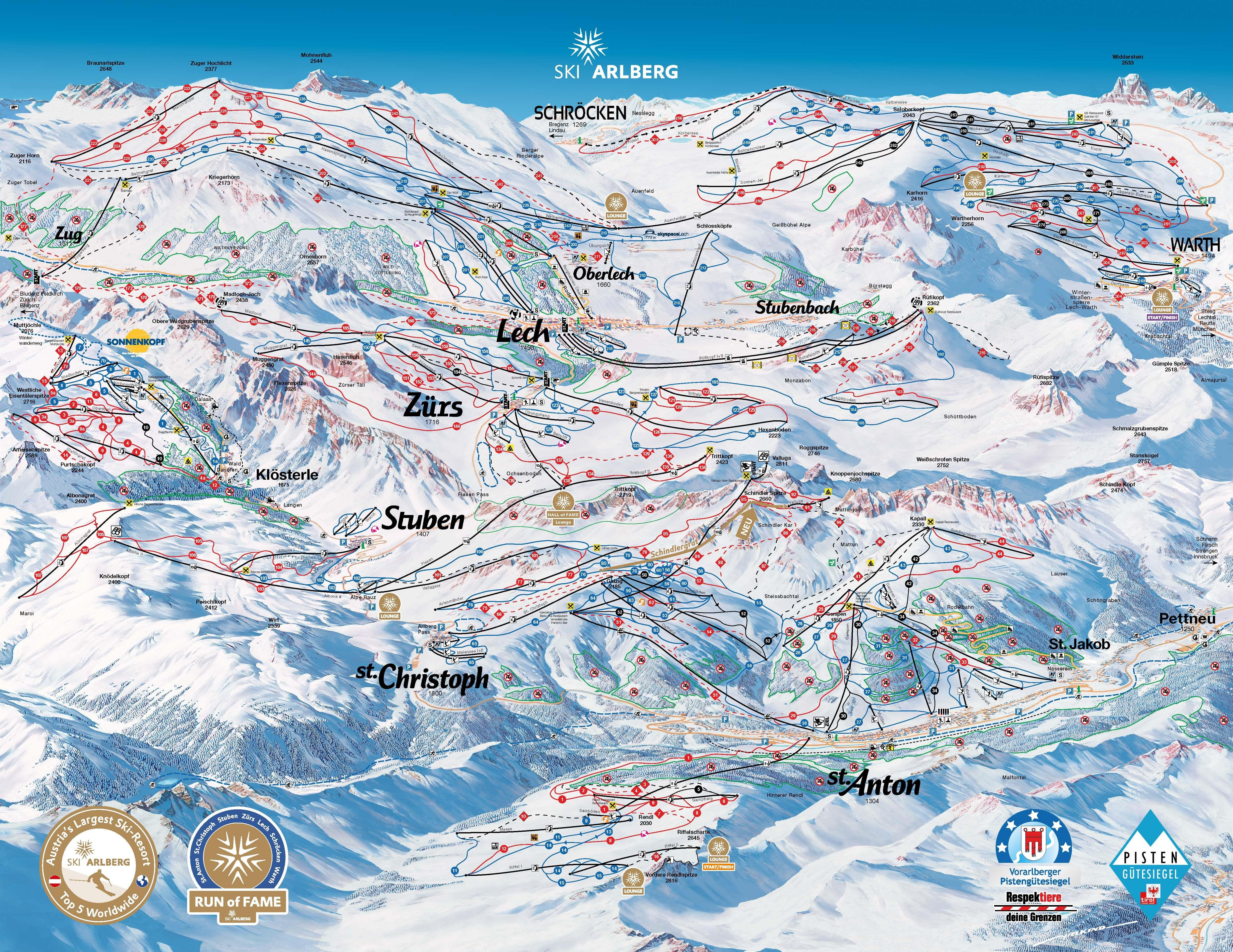 Lech Piste / Trail Map