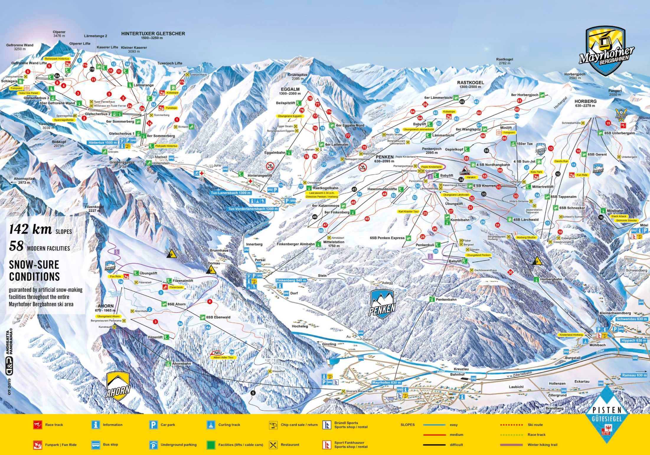 Mayrhofen Piste / Trail Map