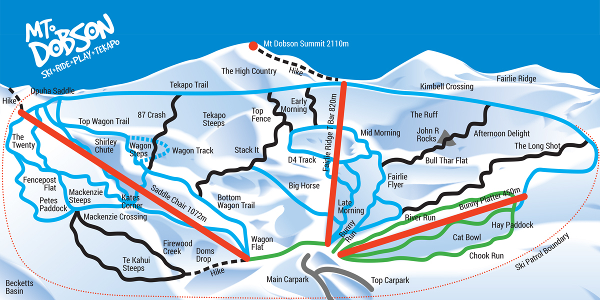 Mount Dobson Piste / Trail Map