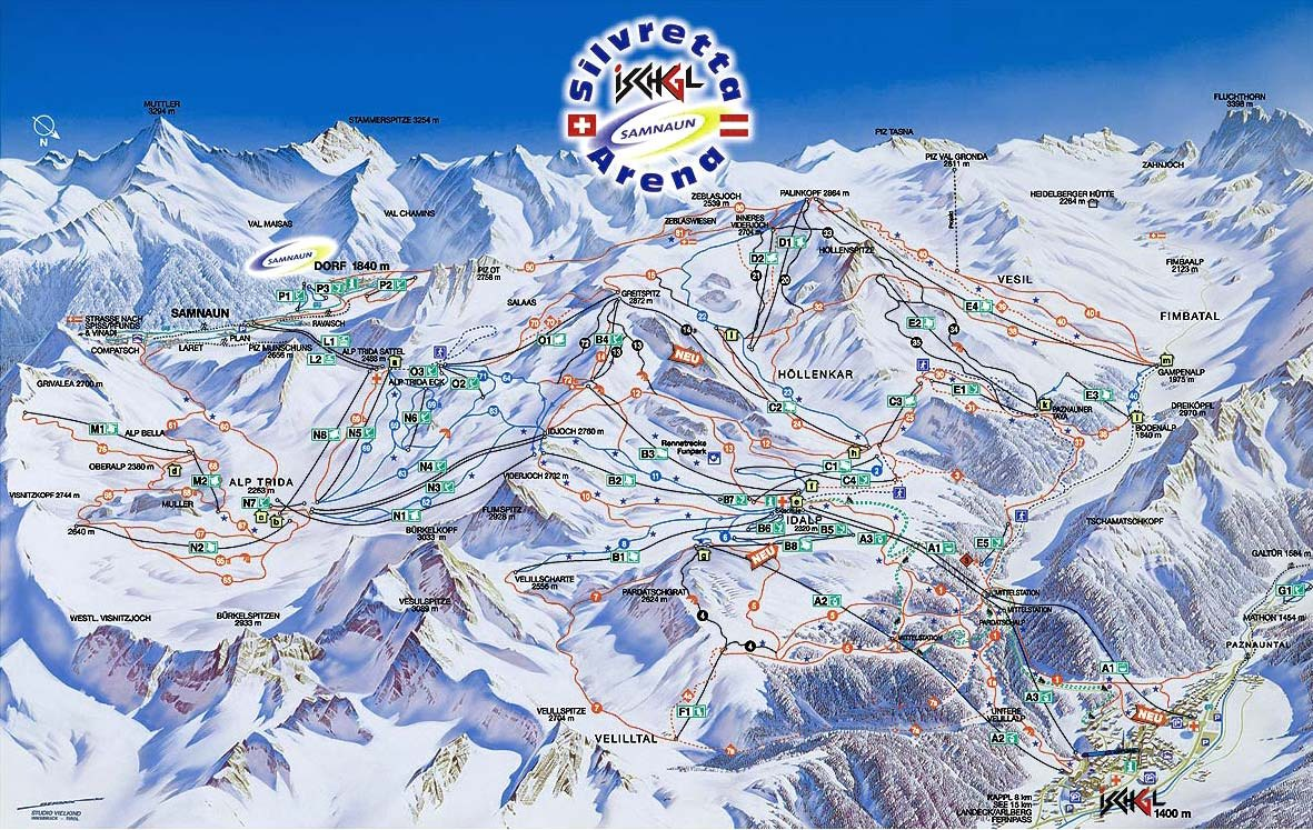 Samnaun Piste / Trail Map