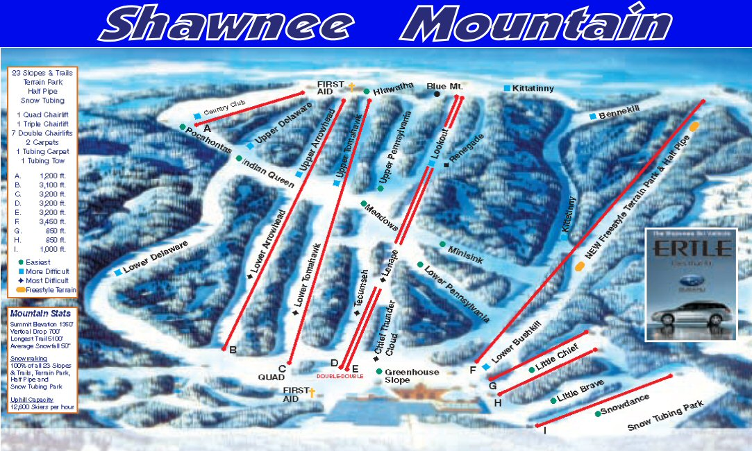 Shawnee Mt Piste / Trail Map