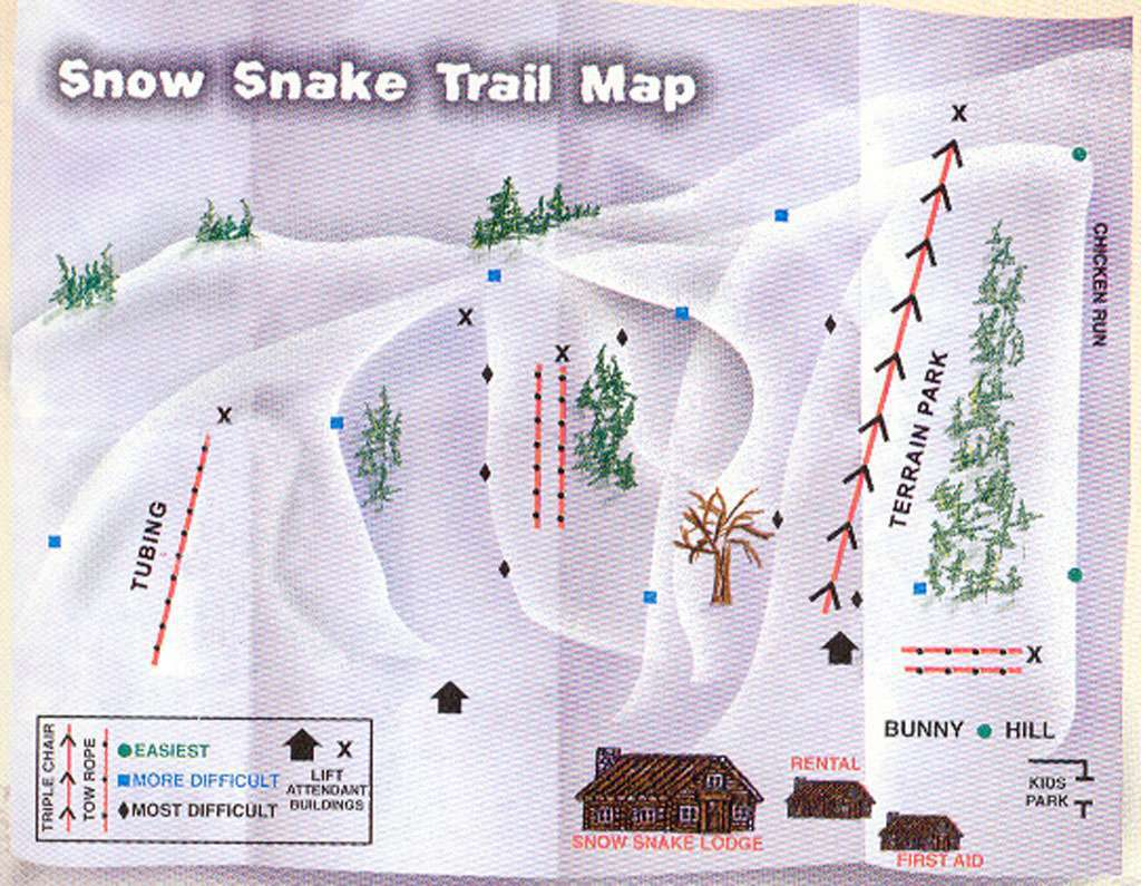Snow Snake Mountain Piste / Trail Map