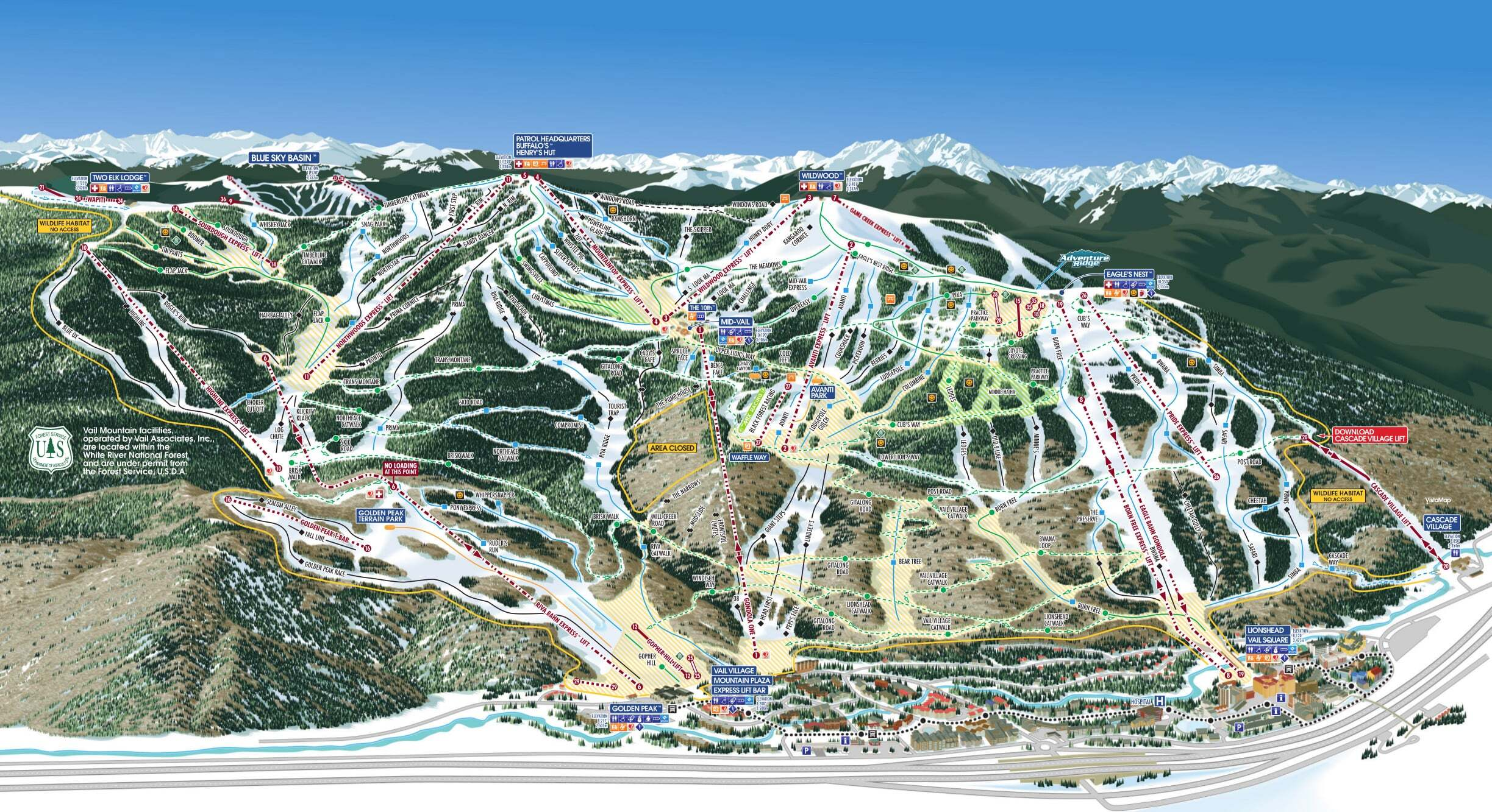 Vail Piste / Trail Map