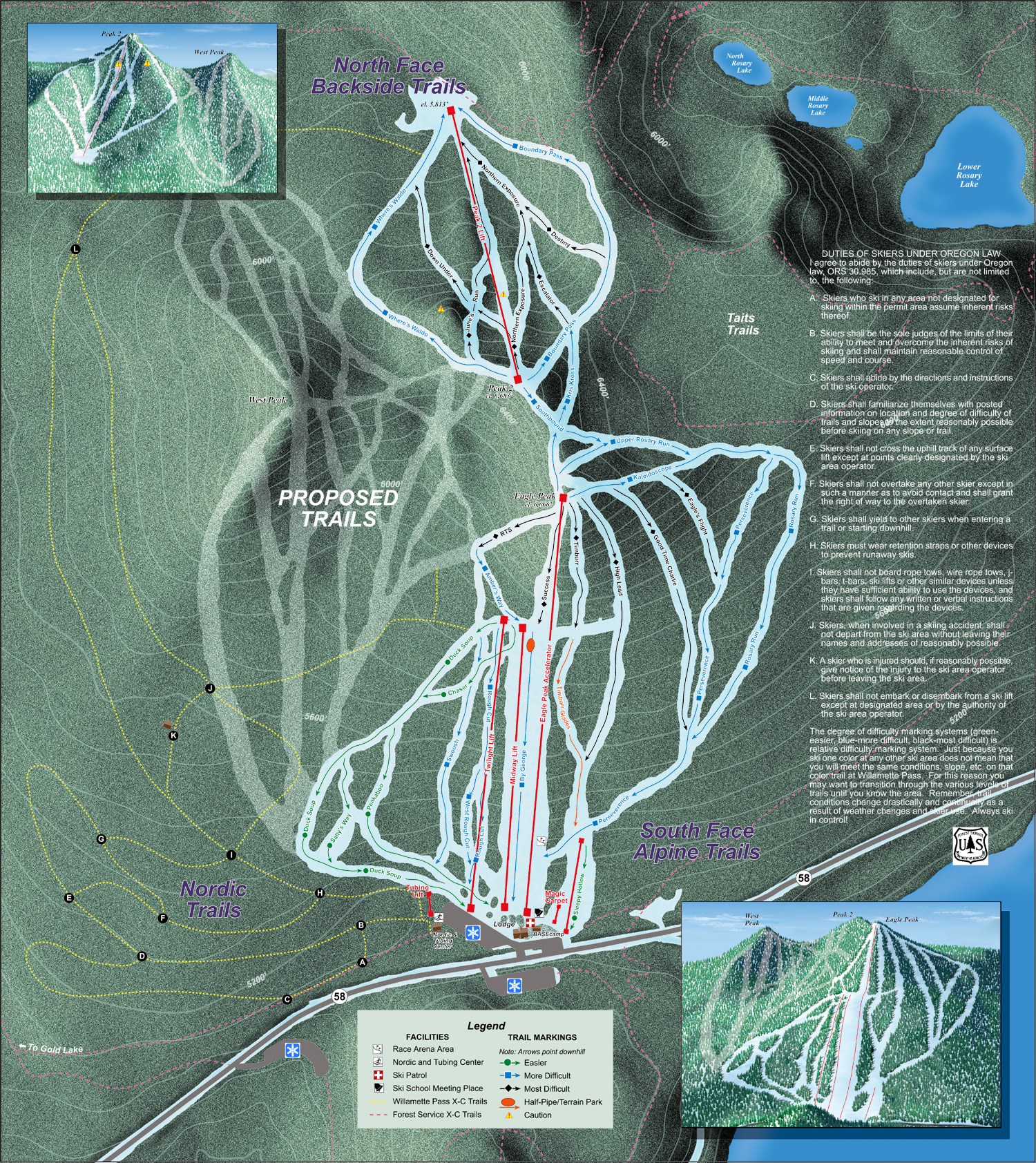 Willamette Pass Piste / Trail Map