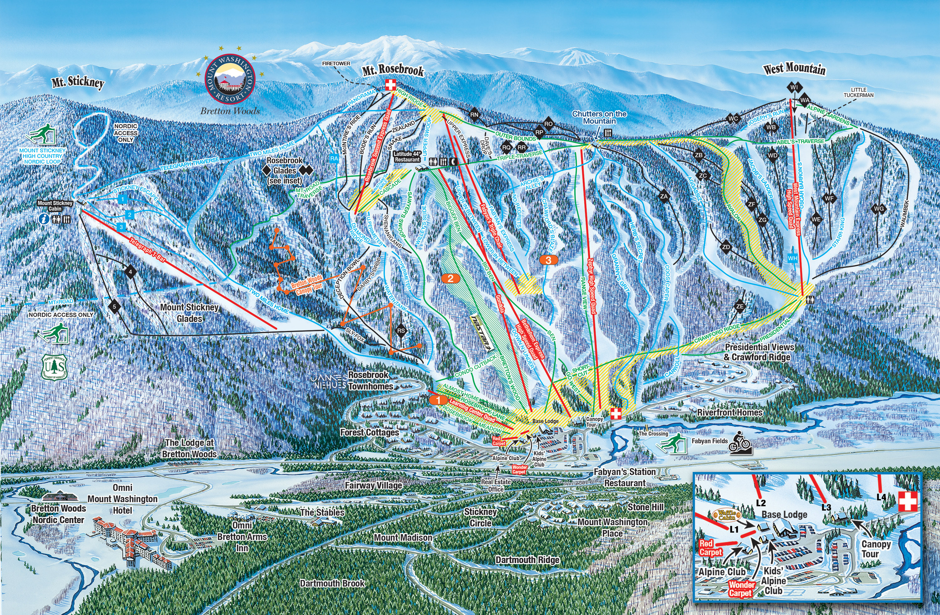 Bretton Woods Piste / Trail Map