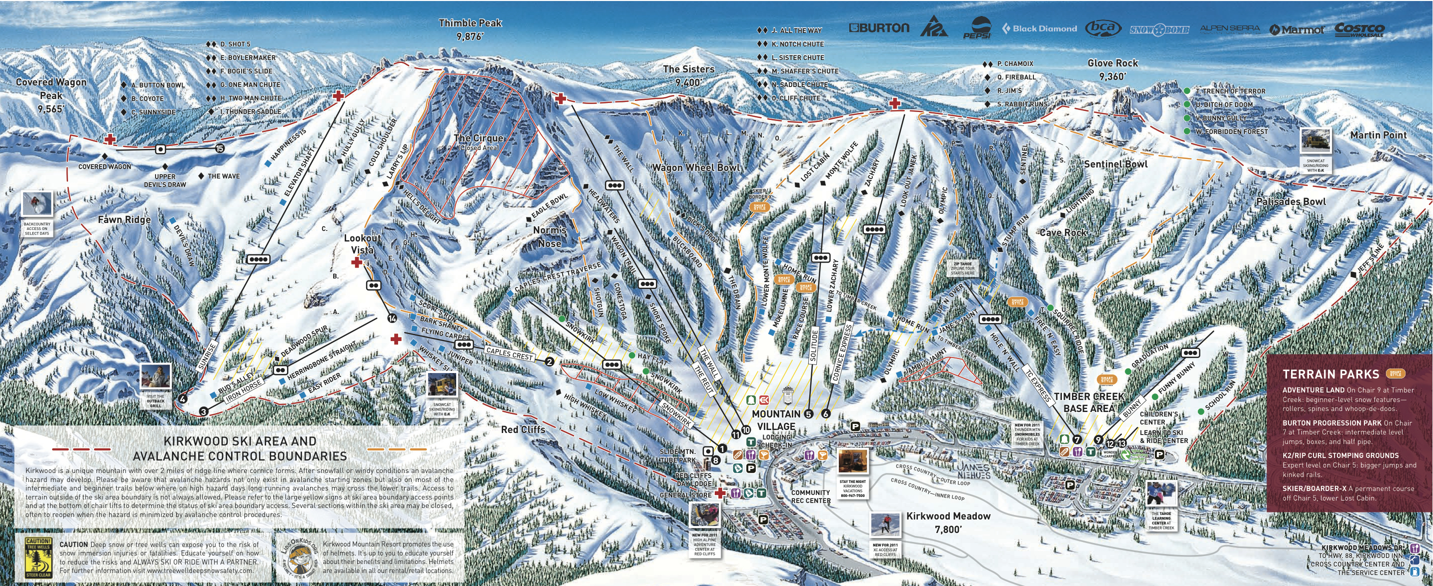 Kirkwood Piste / Trail Map