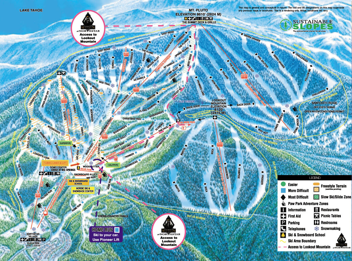 Northstar at Tahoe Piste / Trail Map