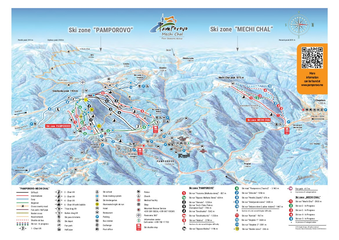 Pamporovo Piste / Trail Map