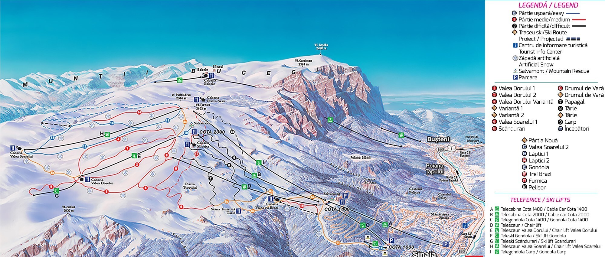 Sinaia Piste / Trail Map