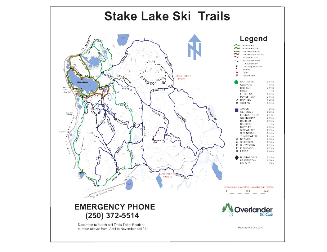 Stake Lake Nordic Centre Piste / Trail Map